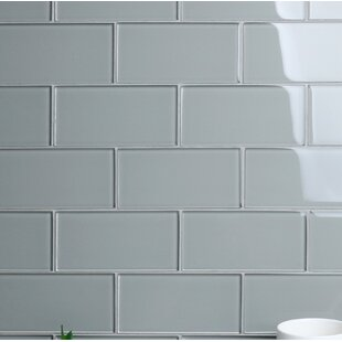 "Premium Series 3"" x 6"" Glass Subway Tile in Glossy Soft Gray"