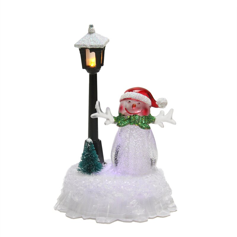 led lighted changing snowman with santa hat and lamp post christmas decoration - Light Post Christmas Decorations