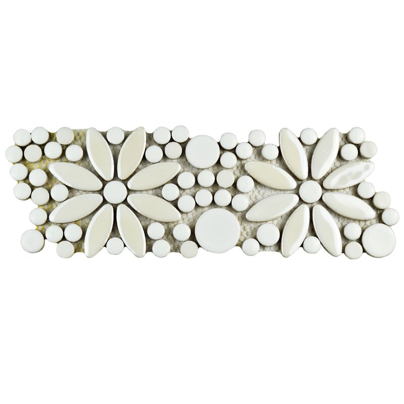 "Tiles With Borders: EliteTile Tucana 4.25"" X 12.75"" Porcelain Flower Mosaic"