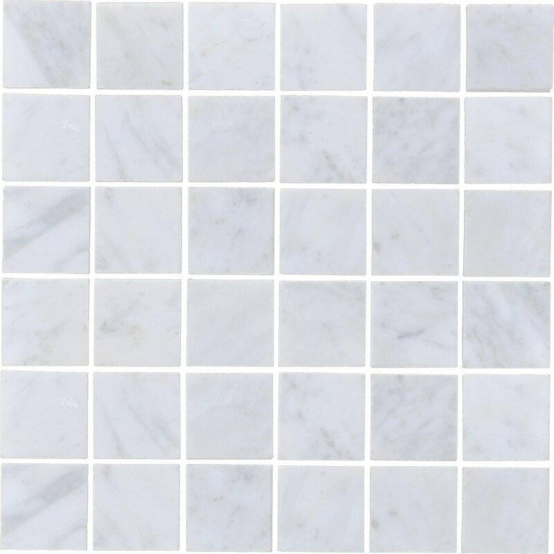 The Bella Collection Carrara 2 X 2 Honed Marble Subway Tile In