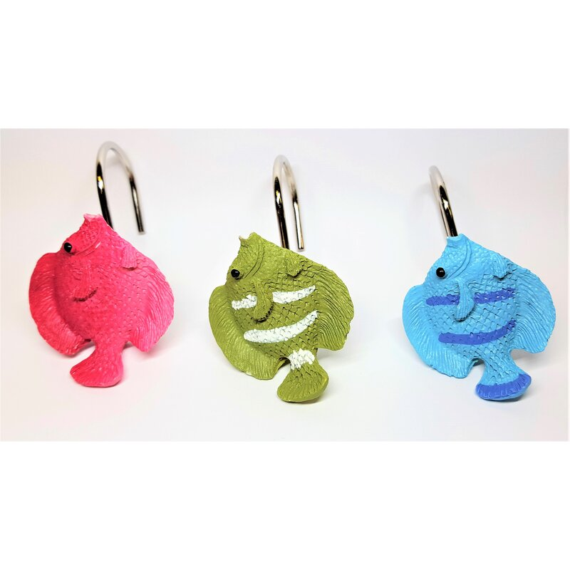Tropical Fish Shower Curtain Hooks