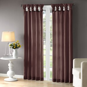 Rivau Solid Semi Sheer Tab Top Single Curtain Panel