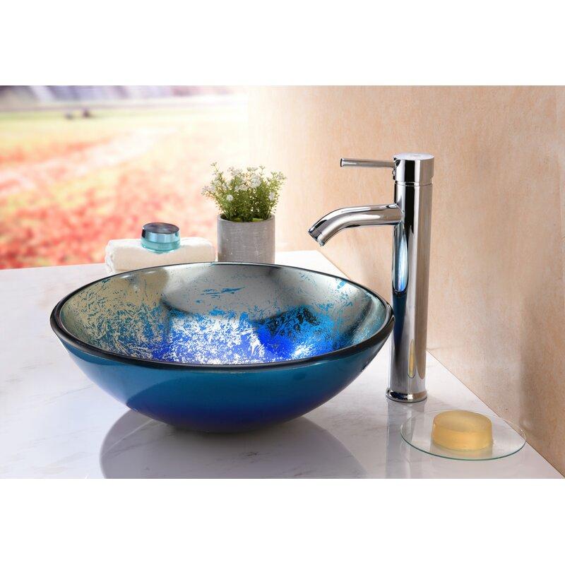 fascinating Oceana Sinks For Bathroom Part - 13: Oceana Glass Circular Vessel Bathroom Sink