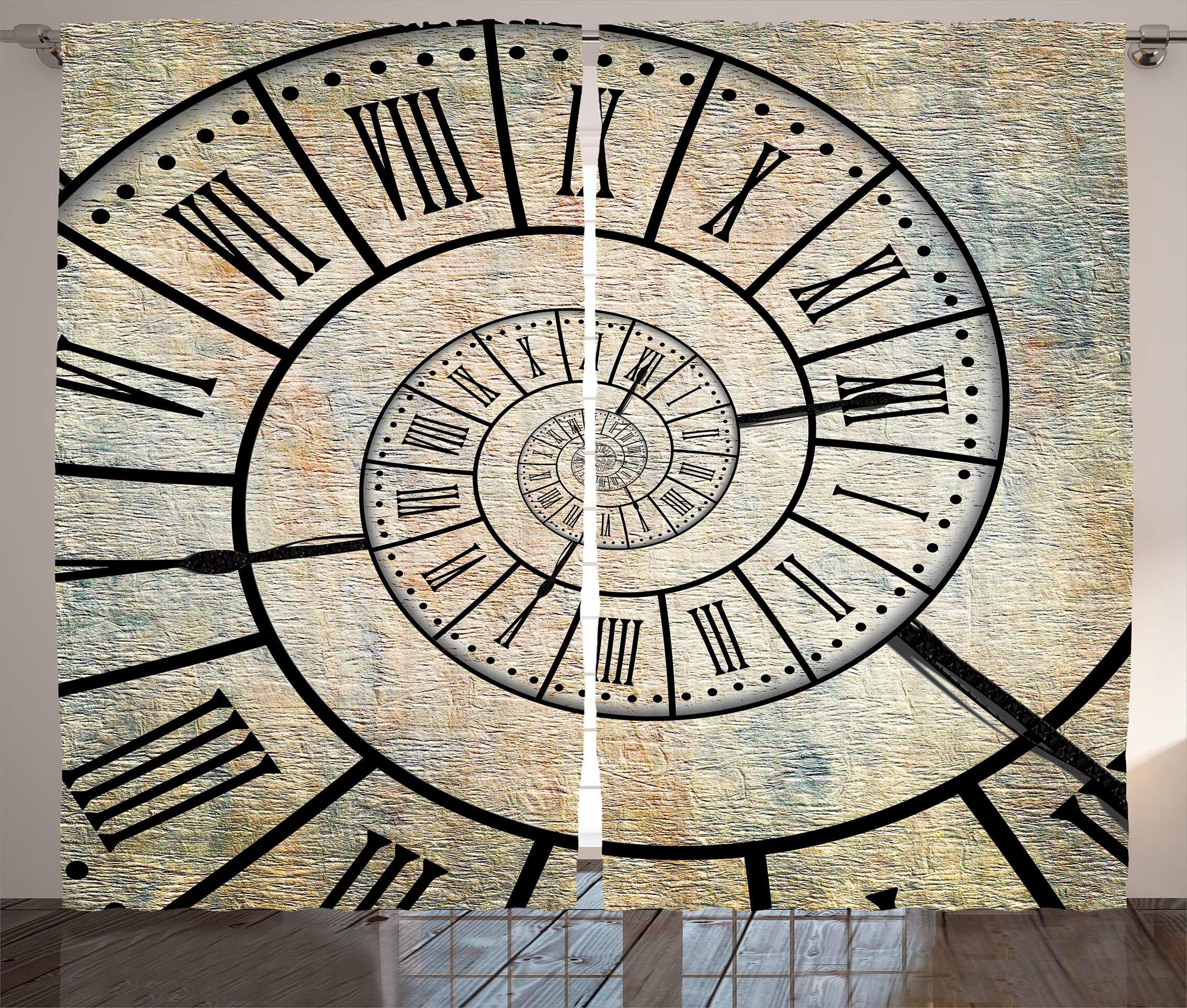 Ivy Bronx Josiah Clock Graphic Print Text Semi Sheer Rod Pocket Curtain Panels Wayfair