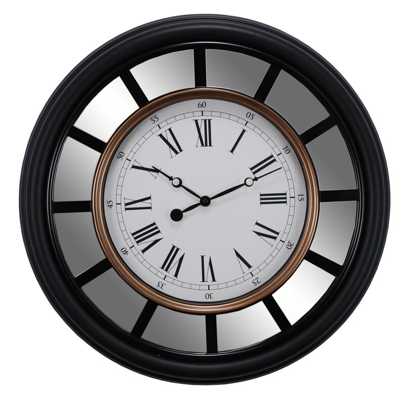 "Mirrored Wall Clock nexxt design vintage 22"" mirrored wall clock & reviews | wayfair"