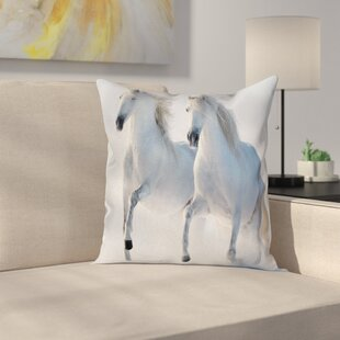 Wintertime Horse Animal Square Pillow Cover