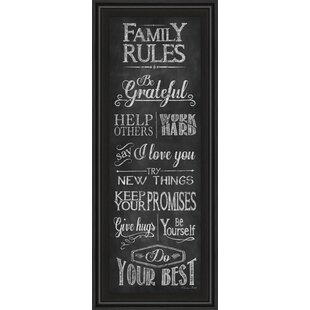 U0027Family Rulesu0027 Framed Textual Art