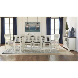 Aguero 11 Piece Counter Height Extendable Solid Wood Pub Table Set