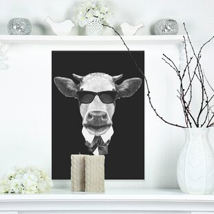 Funny Cow in Suit with Glasses  Graphic Print on Wrapped Canvas in Black 45011b46f40a