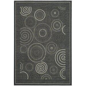 Mullen Black/Sand Circle Outdoor Rug