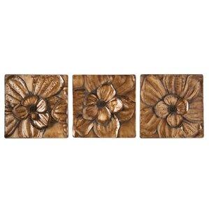 3 piece magnolia brown panel wall dcor set