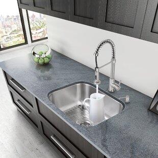 23 inch undermount 18 gauge stainless steel kitchen sink 14 gauge stainless steel sink   wayfair  rh   wayfair com
