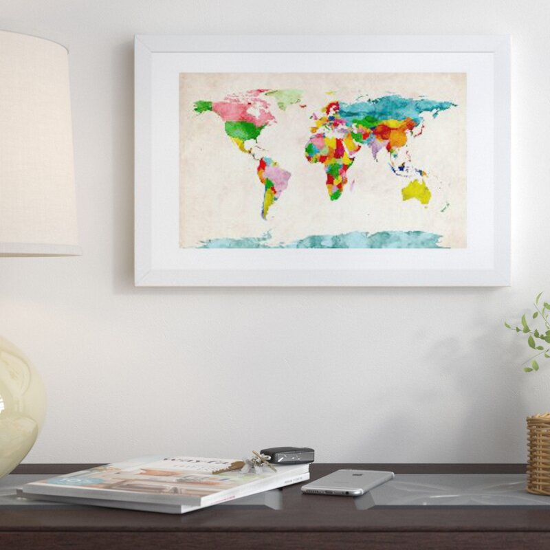 East Urban Home World Map Watercolors III Graphic Art Print