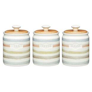 Classic Striped 3 Piece Ceramic Coffee, Tea, U0026 Sugar Set