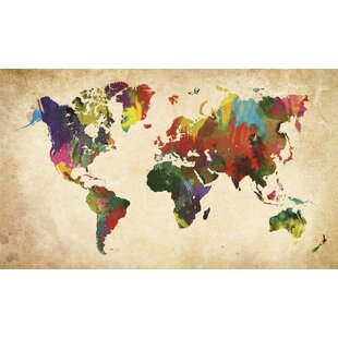 world map in colours wall art