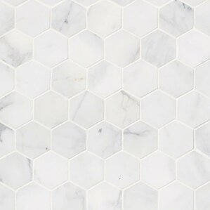 White Tile Floor Texture hexagonal tile you'll love | wayfair