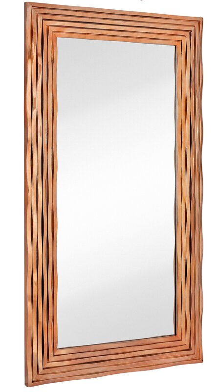 Large Rectangular Contemporary Wavy Polished Rose Gold Framed Glass Wall  Mirror