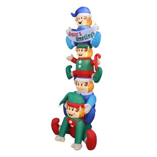 stacked elves yard christmas inflatable - Snoopy Blow Up Christmas Decorations