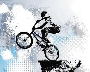 """BMX Biking 9.8' L x 94"""" W 6-Panel Wall Mural"""
