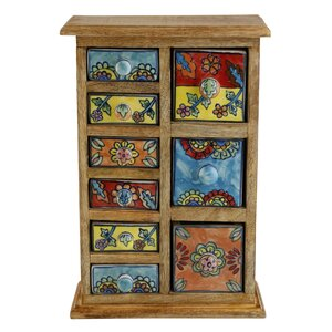 Curios 9 Drawer Wood Apothecary Accent Chest