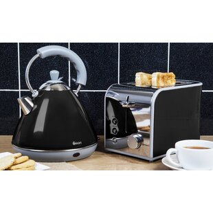 Retro 2l Stainless Steel Electric Kettle And 2 Slice Toaster Set