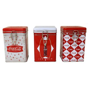 Coca Cola Square Lock Top 3 Piece Kitchen Canister Set