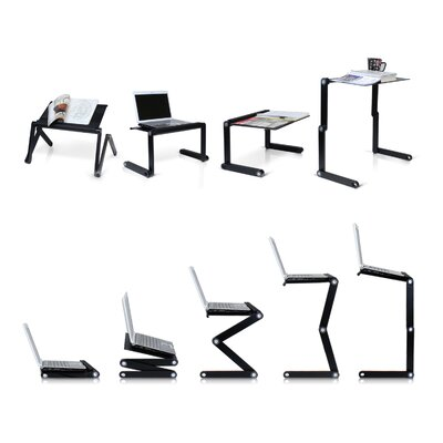 Rebrilliant Judd Vented Laptop Table / Portable Bed Tray Book Stand Color: Black