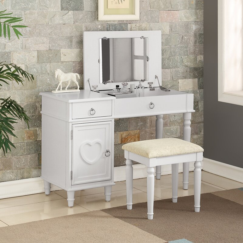 House of Hampton Strathmore Flip up Vanity Set with Mirror ...