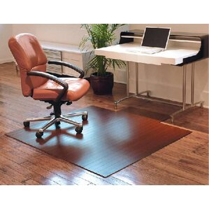 beveled bamboo office chairmat - Chair Mat
