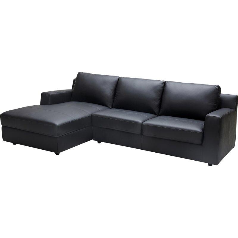 Orren Ellis Arguello Leather Sleeper Sectional & Reviews   Wayfair