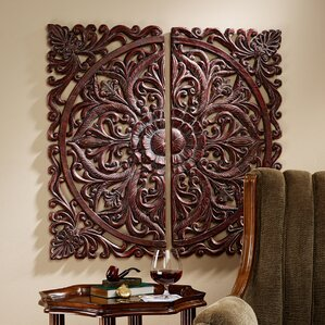 2 Piece Carved Rosette Architectural Wall Dcor Set