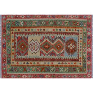 One-of-a-Kind Aulay Kilim Hand-Woven Red/Green Area Rug