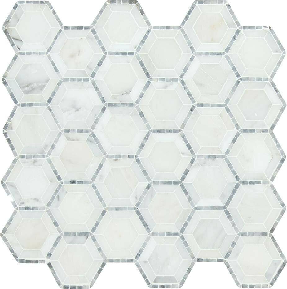 Msi telaio hexagon honed 2 x 2 marble mosaic tile in white msi telaio hexagon honed 2 x 2 marble mosaic tile in white reviews wayfair dailygadgetfo Images