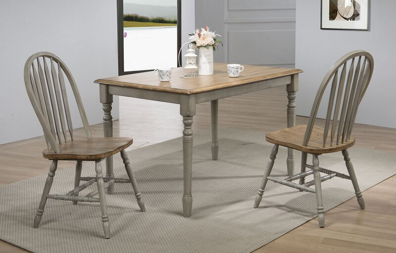 Gray Sima Solid Wood Dining Table