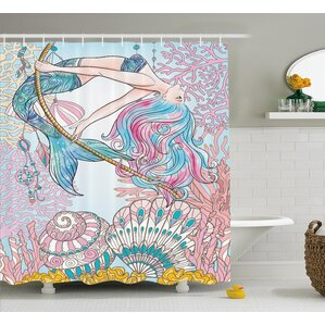 mackenzie greek myth seashell shower curtain