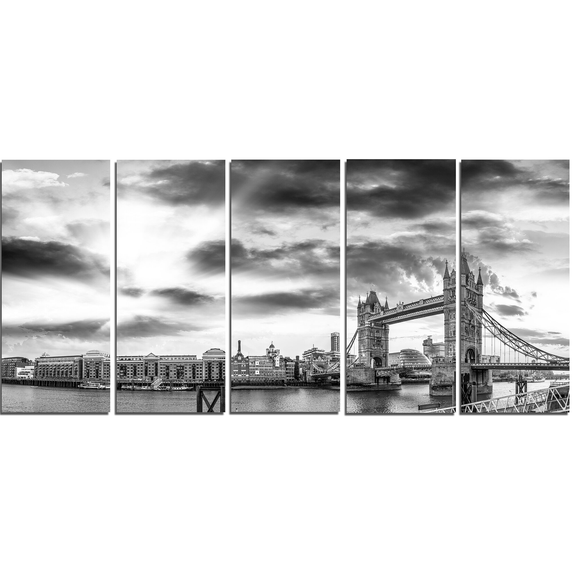 Designart Black And White View Of London Panorama 5 Piece Wall Art On Wred Canvas Set Wayfair