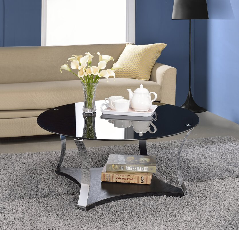 glass living room table. Geiger Glass Coffee Table ACME Furniture  Reviews Wayfair