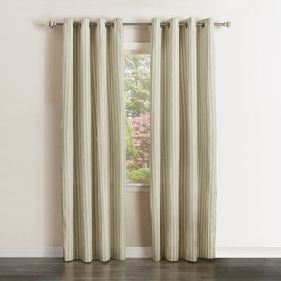 Vertical Striped Semi Sheer Grommet Curtain Panels Set Of 2
