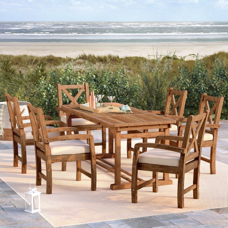 Seppe X Back Acacia Patio 6 Piece Dining Set With Cushions