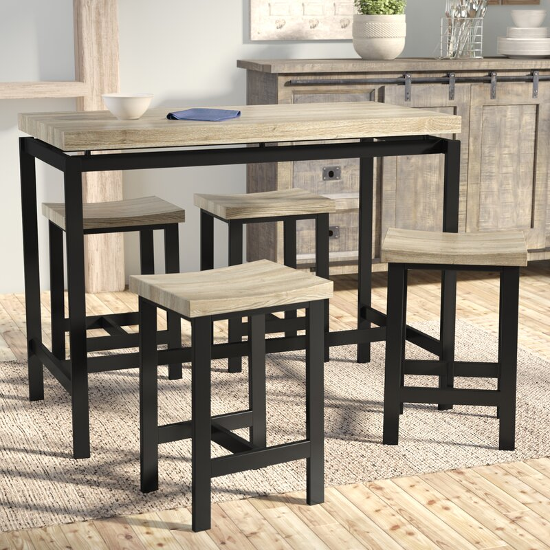 laurel foundry modern farmhouse bourges 5 piece pub table set reviews wayfair. Black Bedroom Furniture Sets. Home Design Ideas