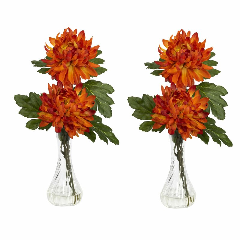 Nearly Natural Mum With Bud Vase Silk Flower Arrangement Reviews
