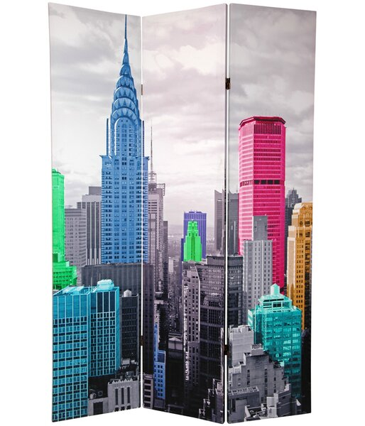 Oriental Furniture Colorful New York Scene 3 Panel Room Divider Reviews Wayfair