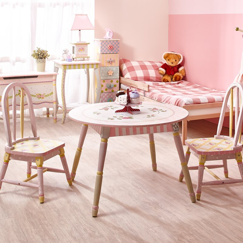 Lovely Crackled Rose Kids 3 Piece Table And Chair Set
