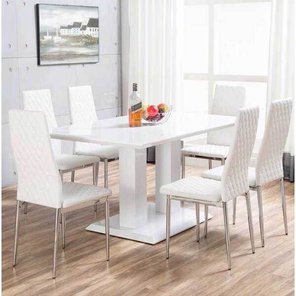 orren ellis ransbergl high gloss dining set with 6 chairs. Black Bedroom Furniture Sets. Home Design Ideas