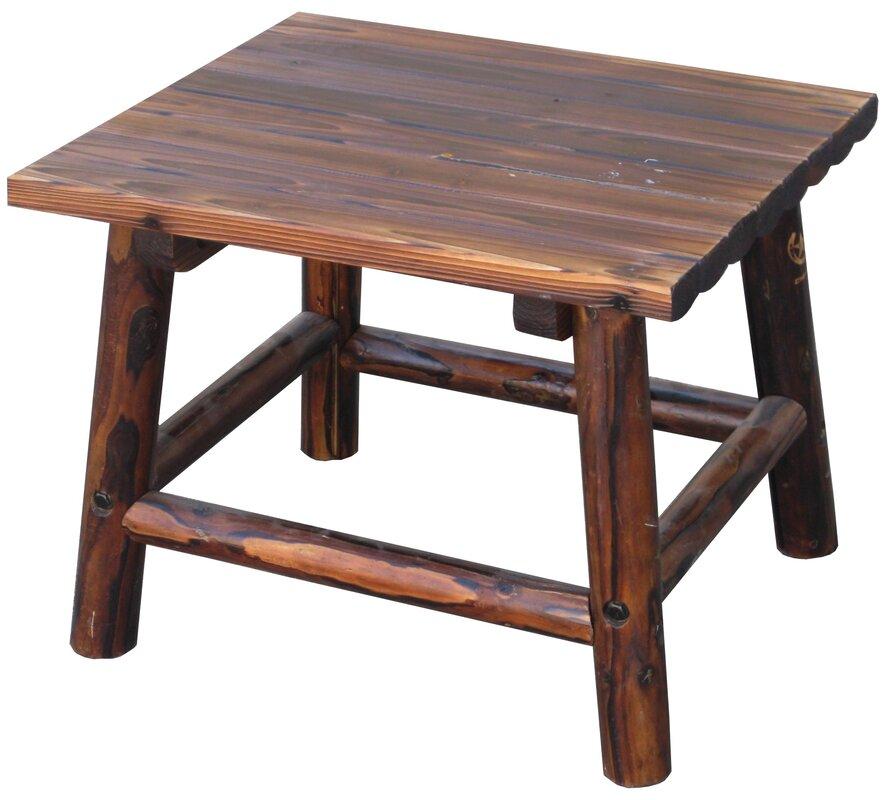 Superb Char Log Square End Table