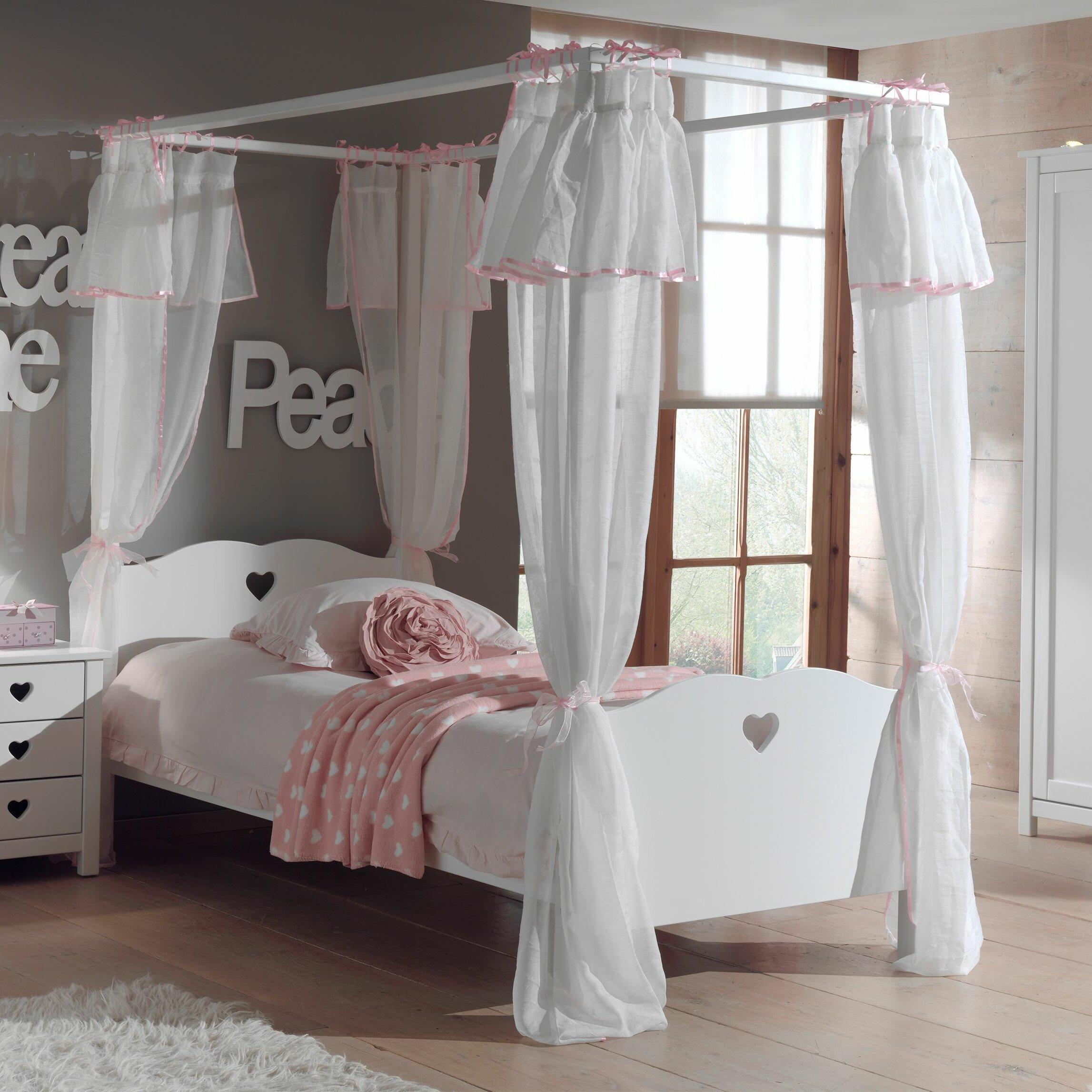 Vipack Himmelbett Amori mit Textil-Vorhang, 90 x 200 cm | Wayfair.de