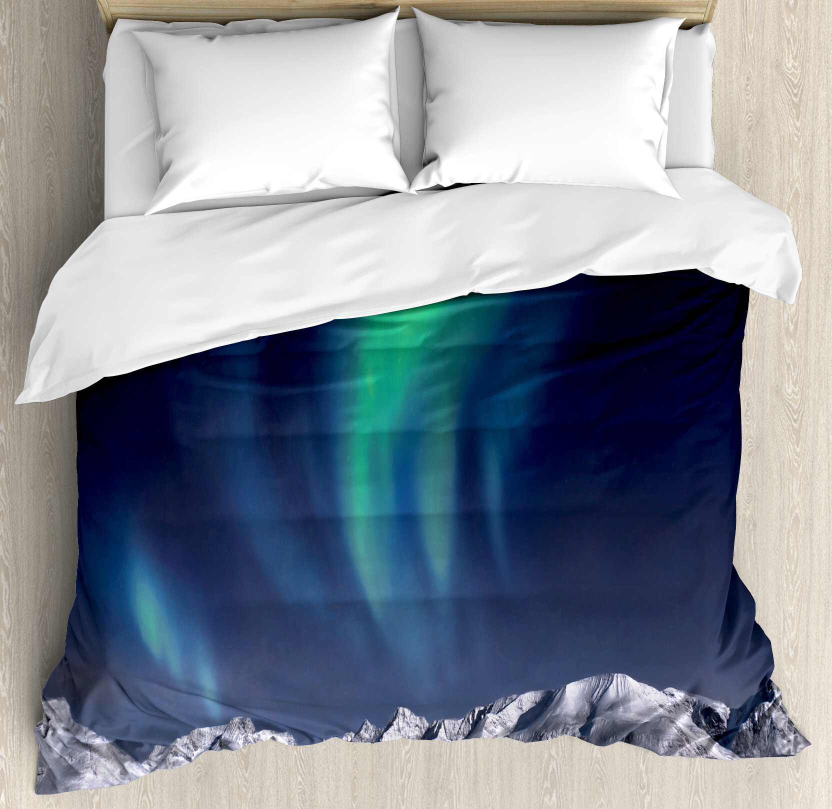 East Urban Home Sky Decor King Size Duvet Cover Set Northern Lights