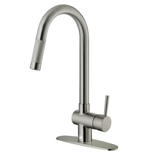 VIGO Gramercy Single Handle Pull-Down Kitchen Faucet with Deck Plate