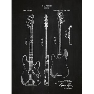 Music And Audio Fender Bass Guitar 1953 Silk Screen Print Graphic Art In Chalkboard White Ink