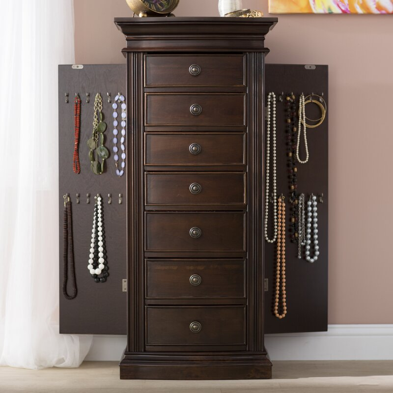 Superb Aitkin Jewelry Armoire With Mirror